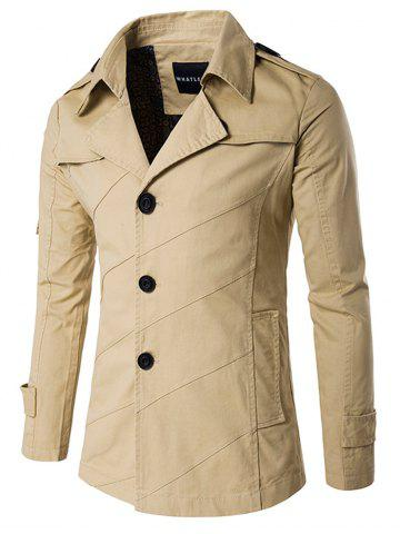 Fashion Splicing Design Single Breasted Coat KHAKI 2XL