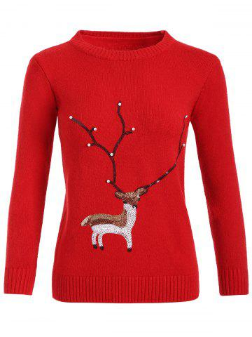 Hot Christmas Reindeer Graphic Sequined Sweater