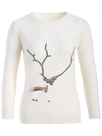 Shops Christmas Reindeer Graphic Sequined Sweater WHITE ONE SIZE