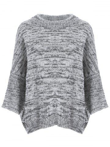 Dolman Sleeve Heathered Sweater - Gray - One Size
