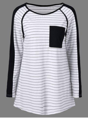 Fancy Contrast Trim Striped T-Shirt