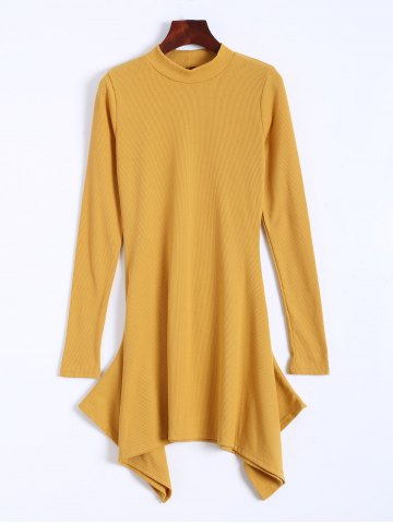 High Neck Long Sleeve Ribbed Asymmetric Dress - Yellow - S