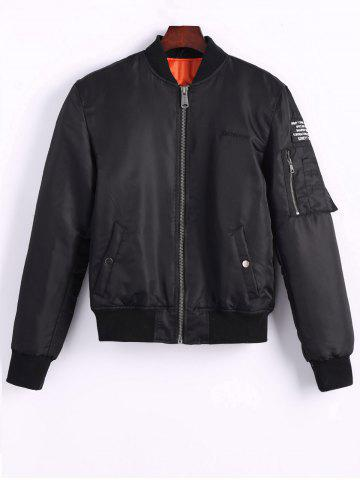 Outfit Back Tiger Embroidered Bomber Jacket with Pockets BLACK L