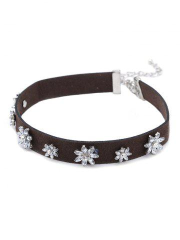 Latest Floral Rhinestone Faux Leather Choker SILVER