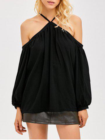 Cold Shoulder Pleated Blouse - Black - M