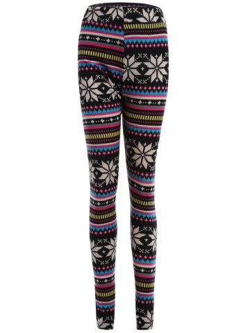 Latest Snowflake Print Flocking Skintight Leggings - ONE SIZE COLORMIX Mobile