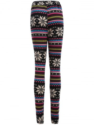 Outfits Snowflake Print Flocking Skintight Leggings - ONE SIZE COLORMIX Mobile