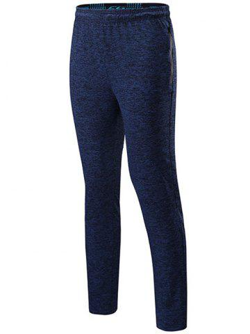 Sale Drawstring Sports Pants with Zip DEEP BLUE 2XL