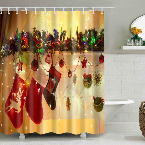 Hot Mouldproof Christmas Hanging Sock Waterproof Shower Curtain - S DEEP YELLOW Mobile
