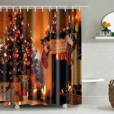 Best Merry Christmas Printed Mouldproof Waterproof Shower Curtain GOLD BROWN L