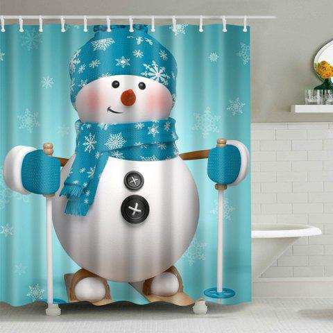 Shop Xmas Snowman Fabric Waterproof Christmas Shower Curtain - S LIGHT BLUE Mobile