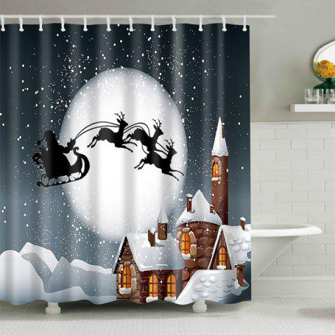 Cheap Peaceful Christmas Eve Waterproof Fabric Shower Curtain - S COLORMIX Mobile