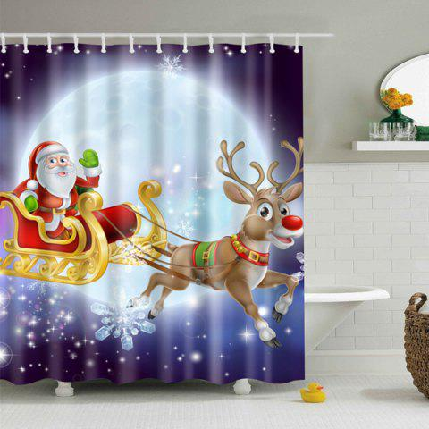 Fancy Waterproof Santa Elk Printed Bathroom Christmas Shower Curtain - S PURPLE Mobile