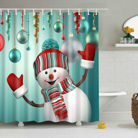 Discount Christmas Snowman Polyester Waterproof Shower Curtain - M BLUE GREEN Mobile