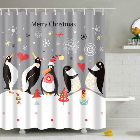 Cheap Waterproof Penguin Printed Bath Christmas Shower Curtain - S GREY AND WHITE Mobile