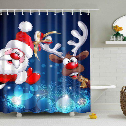 Affordable Polyester Waterproof Xmas Santa Elk Christmas Shower Curtain - L DEEP BLUE Mobile