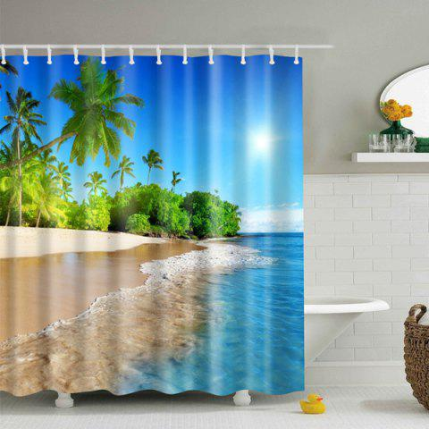 Latest 3D Beach Polyester Waterproof Bath Shower Curtain - L BLUE Mobile