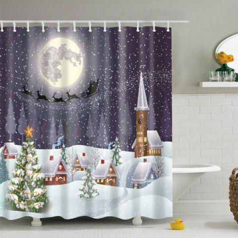Snowing Night Fabric Waterproof Christmas Shower Curtain - COLORMIX L