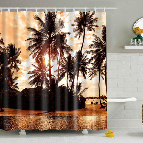 Online Palm Printed Polyester Waterproof Bath Shower Curtain BROWN L
