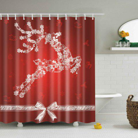 Red Christmas Decor Bathroom Screen Fabric Shower Curtain