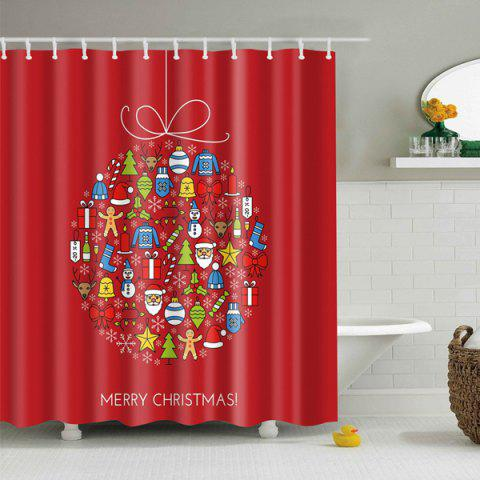 Red Christmas Bathroom Decor Waterproof Shower Curtain