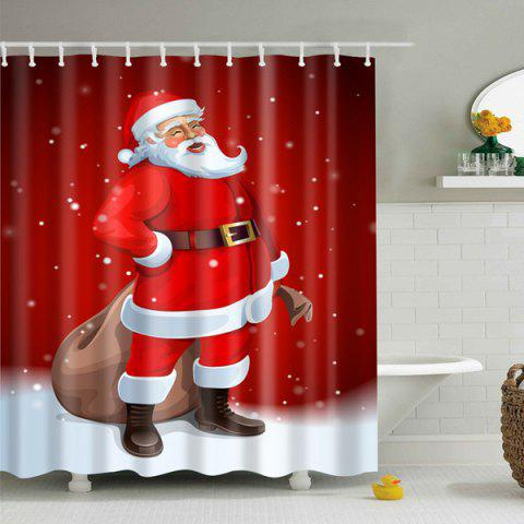 Latest Christmas Waterproof Polyester Santa Claus Bath Curtain RED L