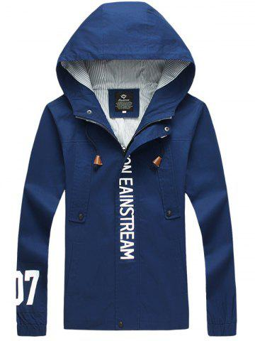 Shops Graphic Elastic Cuff Pocket Zip Up Hooded Jacket