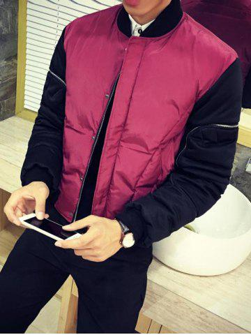 Zippered Contrast Color Snap Front Padded Jacket - Burgundy - M
