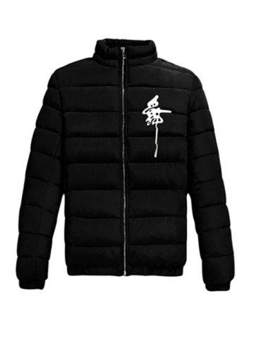Chic Elastic Cuff Zip Up Noctilucent Graphic Padded Jacket BLACK 2XL