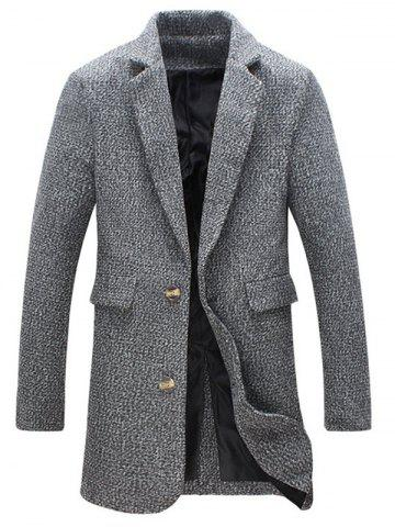 Heathered Flap Pocket Wool Blend Two Button Coat - Gray - M