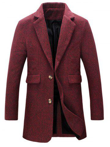 Heathered Flap Pocket Wool Blend Two Button Coat - Red - Xl