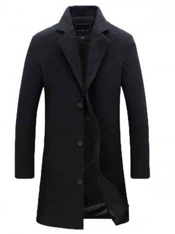 Trendy Notch Lapel Single Breasted Plain Wool Blend Coat