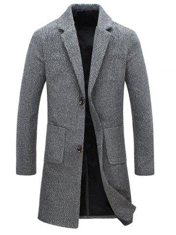 Pocket Heathered Wool Blend Two Button Coat - Gray - L