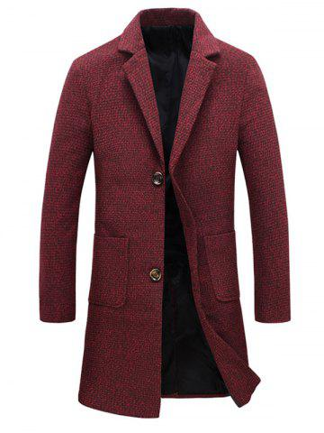 Pocket Heathered Wool Blend Two Button Coat - Red - L