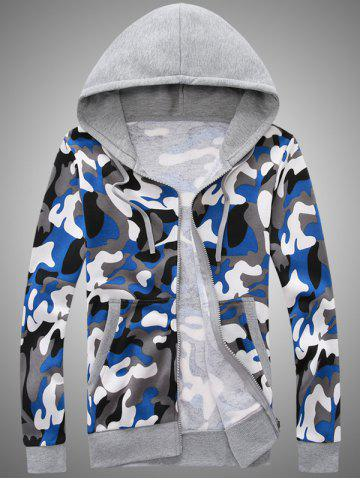 Sale Pocket Camo Zip Up Hoodie