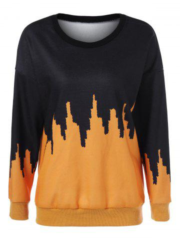Outfits Drop Shoulder Print Sweatshirt YELLOW AND BLACK M