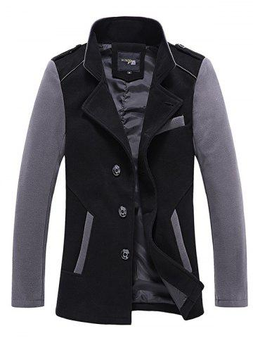Trendy Stand Collar Color Block Panel Wool Blend Jacket