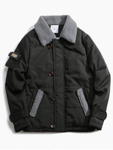 Hot Pocket Design Borg Collar Panel Quilted Jacket BLACK XL