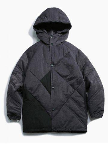 Unique Button Up Panel Hooded Quilted Jacket