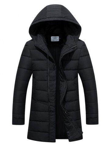 Slim Fit Zip Up Padded Hooded Quilted Coat - Black - M