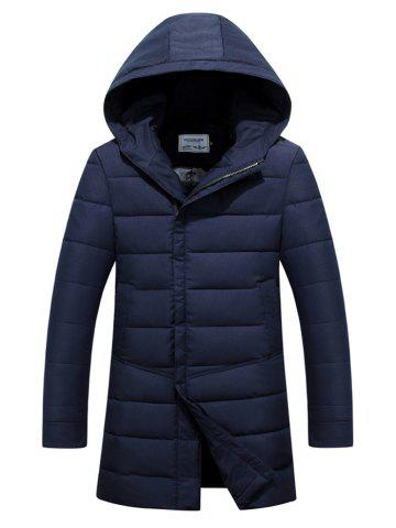 Slim Fit Zip Up Padded Hooded Quilted Coat - Blue - M