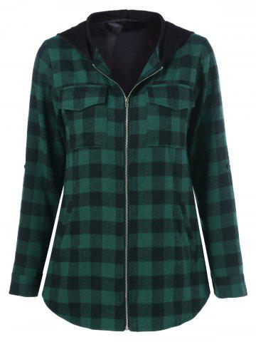 Chic Hooded Plaid Jacket