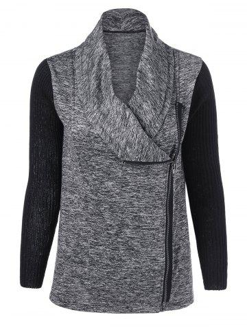 Outfit Knitted Patchwork Side Zipper Jacket