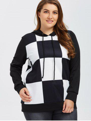 Sale Plus Size Plaid Trim Hoodie
