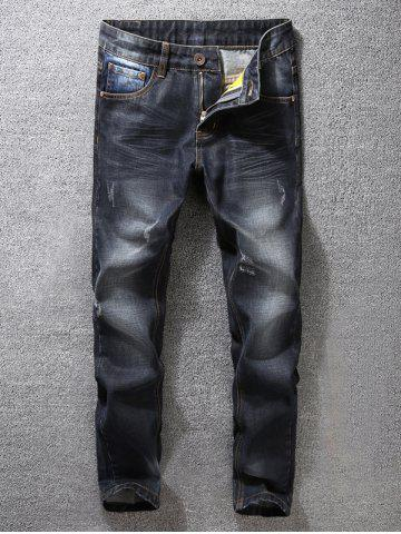Outfit Zip Fly Dark Tapered Denim Jeans BLACK 36