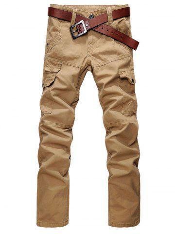Buy Zip Fly Straight Leg Cargo Pants with Pockets EARTHY 36