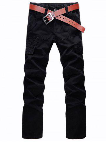 Zip Fly Straight Leg Cargo Pants with Pockets - Black - 32
