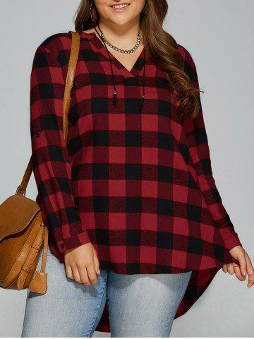 Plus Size Checked High Low Blouse - Checked - 4xl