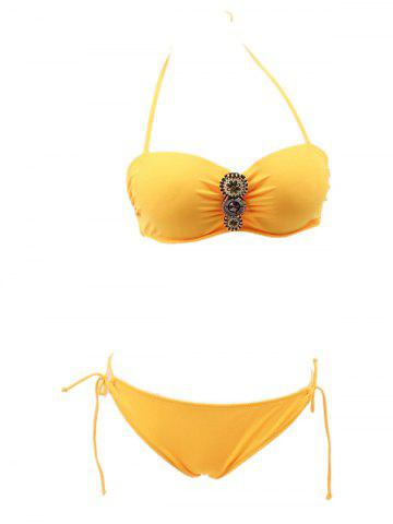 Store Halter Ruched String Bandeau Bikini DEEP YELLOW L