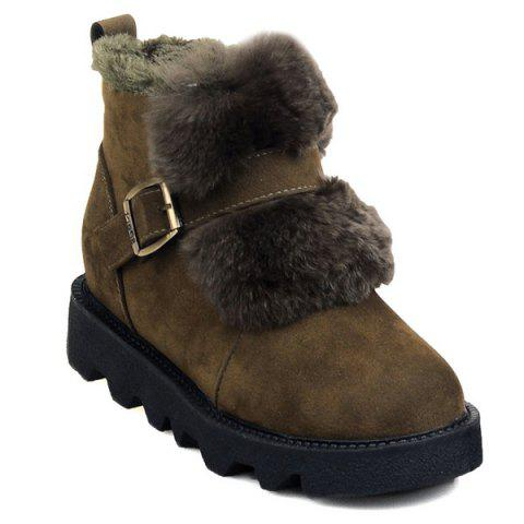 Cheap Buckle Strap Faux Fur Snow Boots ARMY GREEN 39
